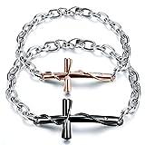 JewelryWe Bracciali da Uomo Donna in Acciaio Inossidabile,con Pendente Croce, Colore Nero e RosaOro, Bracciali Coppia Amanti