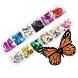 Mounsii 12 Color/Set 3D Butterfly Nail Sticker Glitter Lentejuelas, lentejuelas acrílicas Paillettes, chispa holográfica para decoración de arte manicura colorida