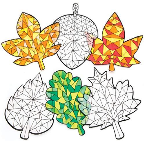 """Baker Ross Fensterdekorationen """"Herbst"""" (12er-Pack), Suncatcher-Glasmalereieffekt für Kinder, ideal zum Basteln zu Hause, Bastelgruppenaktivitäten und mehr, Sortiert, AR646"""