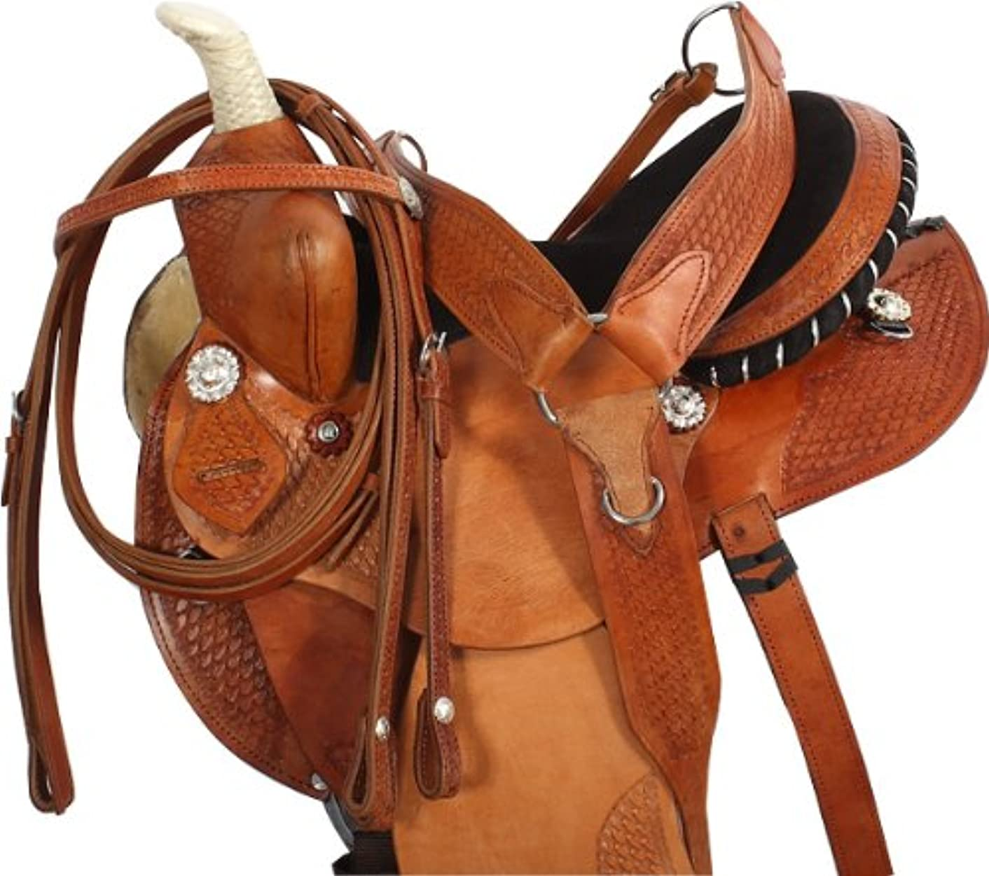 NEW ARABIAN WESTERN PLEASURE BARREL RACING LEATHER HORSE SADDLE & TACK PACKAGE 14 15 16