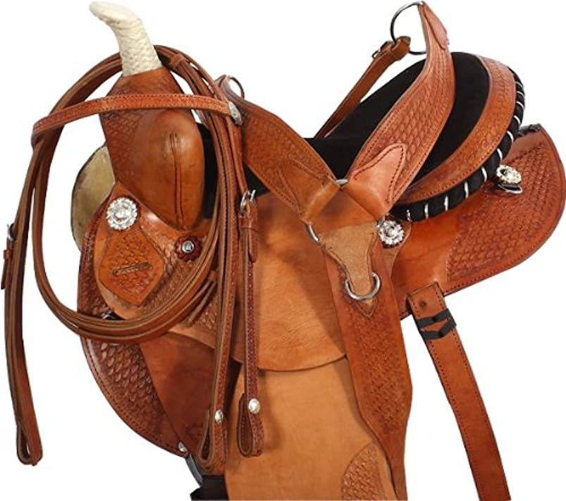 NATURAL WESTERN LEATHER BARREL RACING HORSE SADDLE PLEASURE TRAIL HEADSTALL BREAST COLLAR SADDLE PACKAGE jbhtdtxn662648