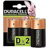 Duracell Ultra - Pilas recargables D 3000 mAh, paquete de 2 unidades