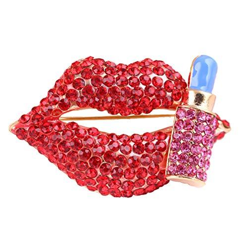Sexy Mujeres Broche Rojo Labios Corsage Full Diamond Broche Pin