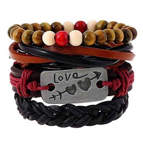 gome-z 4pcs 1Set Punk piel de Wrap pulseras hombres de moda para las mujeres encanto cuentas de madera pulseras Cuff joyas accesorios