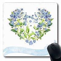 マウスパッドリーフグリーンハート水彩ハート型リボンブルーForgetmenots Meネイチャーブーケアズールバンドブルーム長方形7.9 X 9.5インチノンスリップゲーミングマウスパッドラバー長方形マット