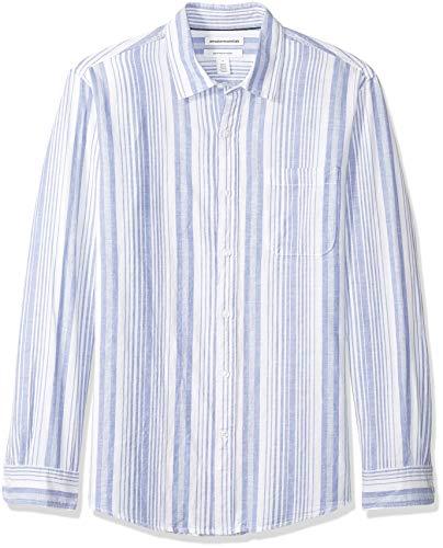 Amazon Essentials, Herren-Langarmhemd aus Leinen, normale Passform, Blue Stripe, L