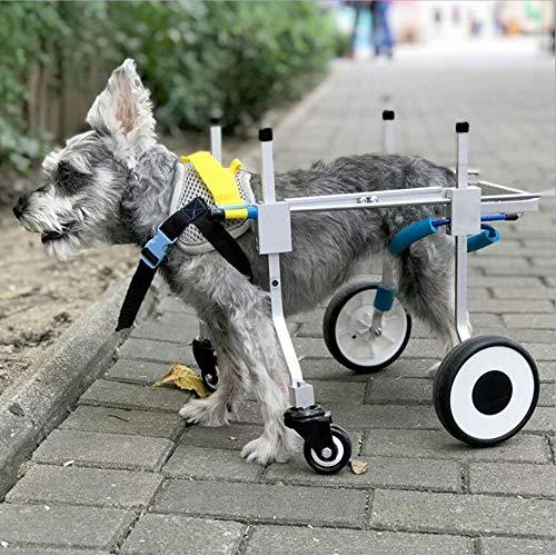 Silla de ruedas para perro, soporte completo ajustable, silla de ruedas para mascotas, carrito de 4 ruedas, patas delanteras y traseras, rehabilitación para perros pequeños, cachorros, gatos (XS)