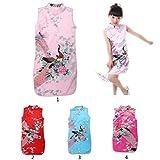 Amuzocity Geisha - Disfraz chino para niña, vestido de noche, sin mangas, vestido de verano, color rosa, 2