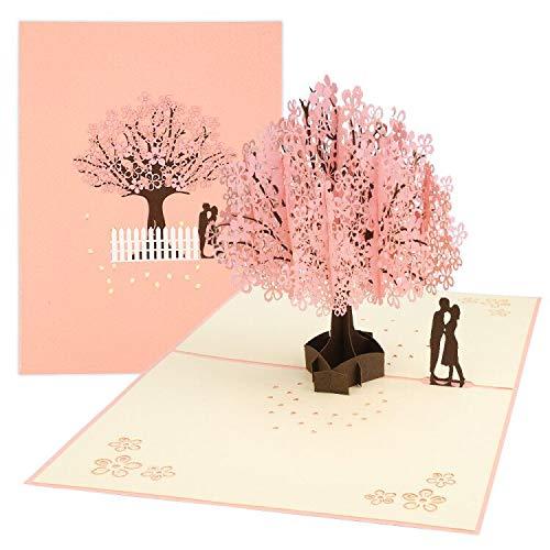 51y+BySLyDL - 3D Karte, Pop Up Kirschblüte Liebhaber Hochzeitskarte für Meisten Anlässe, Romantik Faltkarte, Grußkarte Valentinstag Karte, Geburtstagskarte für Sie, Glückwunschkarten mit Umschlag