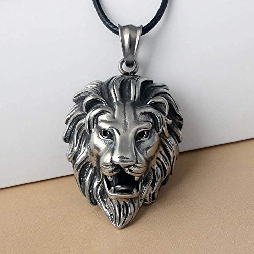 JIUJINHip Hop Ciondolo testa di leone grande e collana Animale re Catena vintage corda di colore per uomo Regalo gioielli donna