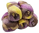 Alize Angora Simli, 5 gomitoli di lana con effetto brillante da 100 g, in totale 500 g, vari colori, con diverse sfumature di colore, effetto metallico, in 20% di lana