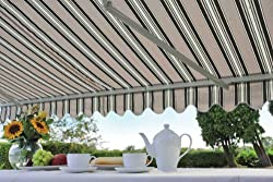 Easy to instal patio awning, supplied with brackets, expanding fixing bolts and built in spirit level. 3 metre wide by 2 metre deep, adjustable angle and depth. Strong yet lightweight steel and aluminium frame, Easy to remove for winter storage. 100%...