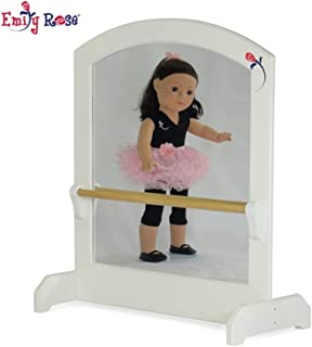 Emily Rose 18-inch Doll Furniture | Ballerina Mirror with Ballet Barre | Fits 18