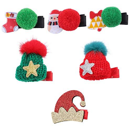 ABOOFAN 6 Unids Niñas Pinzas para El Cabello de Navidad Pom Pom Ball Horquillas para El Cabello Muñeco de Nieve Campana Media Sombrero Estilo Pasadores Festival de Navidad Fiesta