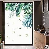 ZYAAO Pellicola per Finestre Vetri Anti-UV Adesivi in Vetro Pellicola Oscurante per Vetri Finestre Window Film Pellicola Smerigliata Privacy per Finestre Green Leaf,45x120cm