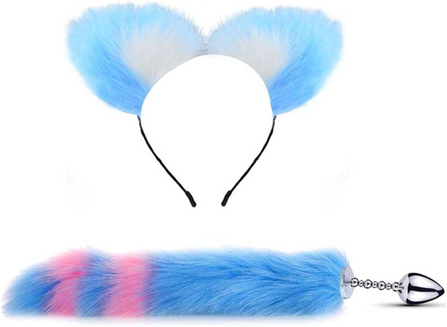 N\C Tail Plug Earplugs Year-end annual account 3 Soft Ear Headbands Met Foxtail with 5% OFF Cat