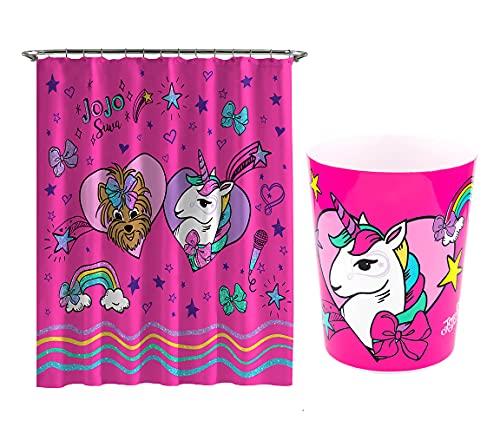 JoJo Siwa Bathroom Set - Kids Bath Shower Curtains and Waste Basket Trash Can (JoJo Siwa)