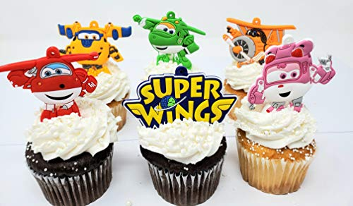 Super Hero Super Wings Birthday Cake Cupcake Topper Set Featuring Characters and Decorative Accessories