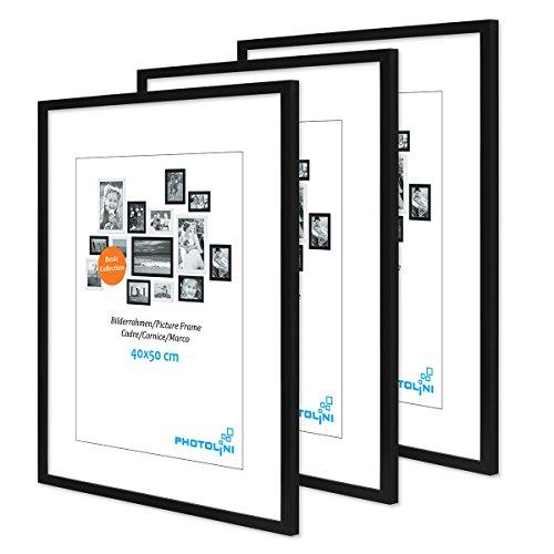 PHOTOLINI 3er Set Poster-Bilderrahmen 40x50 cm Modern Schwarz aus MDF mit Acrylglas/Posterrahmen/Wechselrahmen