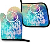White Dream Catcher Feather Pigeon Oven Mitts and Pot Holders Kitchen Set Heat Resistant Cooking Baking BBQ Mitts