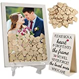 LotFancy Wedding Guest Book Alternative, Drop Top Frame, Heart Drop Guest Book with Stand, 85 Wooden Hearts, 2...