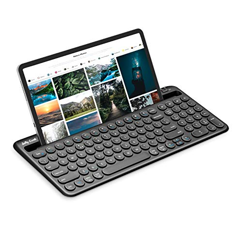 Jelly Comb Multi-Device Bluetooth Wireless Keyboard, Full Size Rechargeable Wireless Keyboard UK Layout for Tablet, Laptop, Computer, Phone, Black