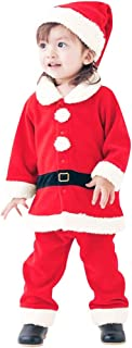 Cute Toddler Baby Girls Boys Christmas Santa Cosplay Warm Thick Tops Pants Hat Set Outfits