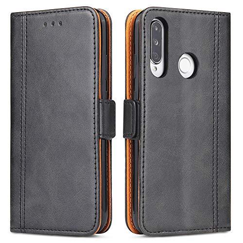 Bozon Handyhülle für Huawei P30 Lite, Lederhülle mit Kartenfächer, Schutzhülle mit Standfunktion, Klapphülle Tasche für Huawei P30 Lite (Schwarz)