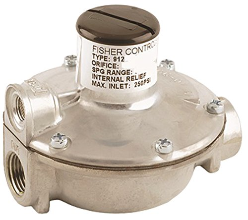 """Emerson-Fisher LP-Gas Equipment, 912-101, 1/4"""" x 3/8"""" FNPT, Single Stage Regulator, Outlet: 9.25-13 InWC, Vent Over Outlet, UL Listed"""