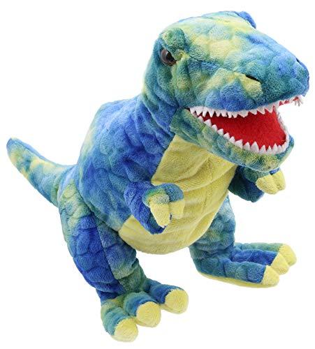 Lashuma Flauschige Dinosaurier Handpuppe, T-Rex Kuscheltier Blau Gelb, Kuscheliges Stoffpuppen Plüschtier Größe 28 cm