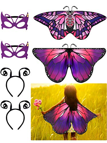 6 Pieces Butterfly Wings Costume with Mask Antenna Headband for Kids Halloween Party (Purple Series Style)