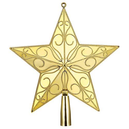 STOBOK Weihnachtsbaum Stern Spitze Christmas Tree Topper 20cm Weihnachtsstern Christbaumspitze Baumschmuck (Gold)