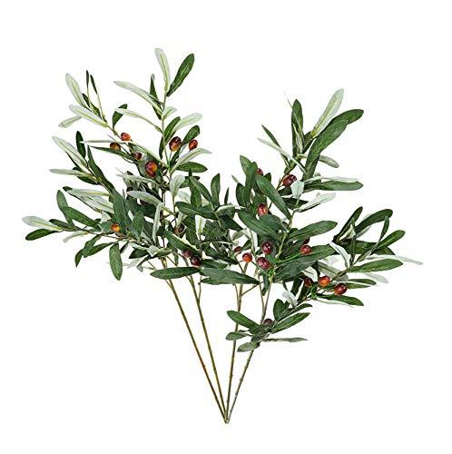 ShoppeWatch AF17 - Hojas de olivo artificiales y tallos con frutas para decoración de árbol de imitación, hojas de olivos, decoración de hogar, cocina, fiesta, plástico