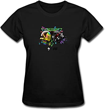 Duanfu Daft Punk Women's Cotton Short Sleeve T-Shirt