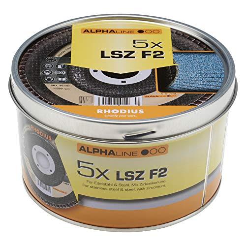 RHODIUS INOX Fächerschleifscheiben LSZ F2 BOX Ø 125 mm K80 für Winkelschleifer 5 Stück
