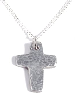 Anniversary 10th Wedding - Hammered Pure Tin Cross Pendant