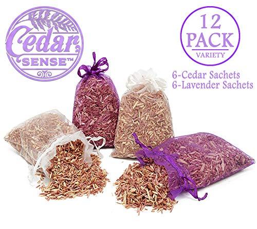 CEDAR SENSE - Cedar Sachet - 12 Variety Pack - 6 Cedar Sachets - 6 Lavender Infused Cedar Sachets - Cedar for Block Storage - Cedar Chips - Cedar Blocks for Clothes Storage - Cedar Closet Freshener