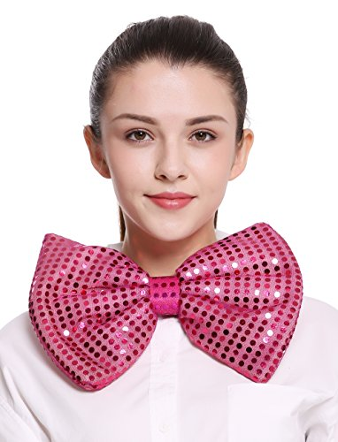 Dress Me Up - BB-041-rosy XXL Fliege Bowtie Binder riesig rosa pink Pailletten Clown Zirkus Karneval Show