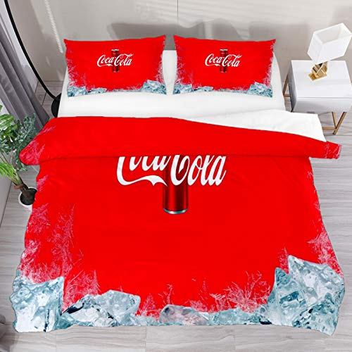Funda de edredón King Coca Cola Botella Cap 3pcs Juego de funda de edredón Funda de edredón Funda de edredón 1 Fundas de almohada 1 Funda de edredón