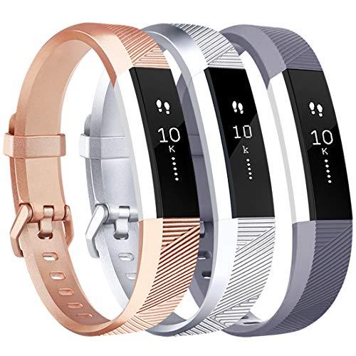 Tobfit - Cinturino morbido regolabile per Fitbit Alta e Fitbit Alta HR (fitness tracker non incluso), Confezione da 3 oro rosa + argento + grigio., s