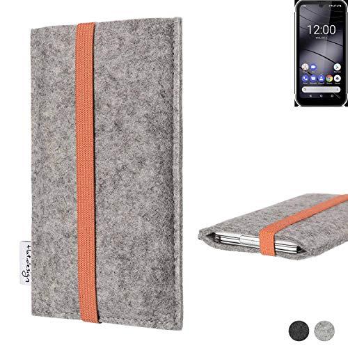 flat.design Handy Hülle Coimbra kompatibel mit Gigaset GX290 - Schutz Hülle Tasche Filz Made in Germany hellgrau orange