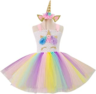 TRADERPLUS Girls Rainbow Tutu Colorful Skirt with Unicorn for Birthday Costume Outfit