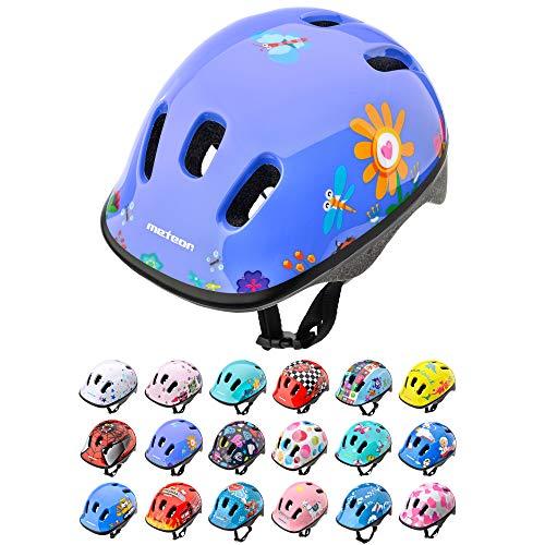 Meteor Casco Bici Ideale per Bambini Caschi Perfetto per Downhill Enduro Ciclismo MTB Scooter Helmet Ideale per Tutte Le Forme di attività in Bicicletta Helmo (S 48-52 cm, Garden)