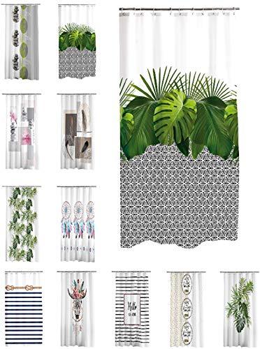 one-home Duschvorhang 180x200 cm wasserabweisend Badewannen Vorhang inklusive 12 Ringe, Farbe:Jungle Maori grau