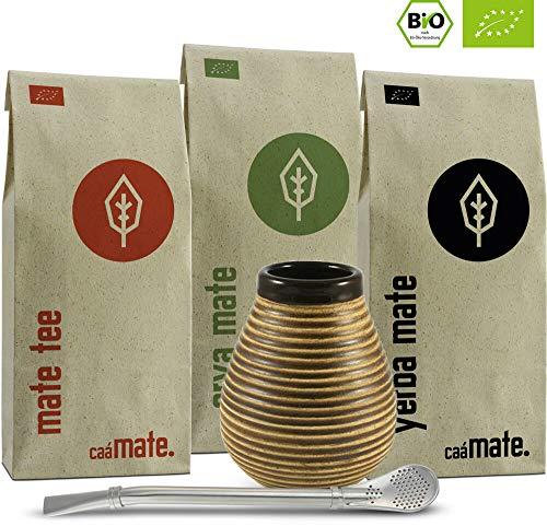 Mate Tee Set Bio ● 3 Matesorten + Matebecher + Bombilla + Zubereitungsanleitung