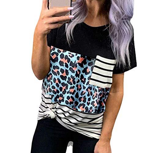 Camiseta de Manga Corta de Verano para Mujer Camiseta con Bolsillo Cuello Redondo a Rayas Estampado de Leopardo Cuello Redondo Camisa Casual Camiseta de Manga Corta Block Twist Blusas y Tops Casuales