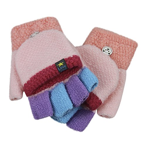 Kids Toddler Magic Wool Knit Convertible Flip Top Gloves with Mitten Cover Winter Warm Half Finger Texting Mittens Fingerless Snow Ski Thermal Gloves Hand Warmer for Girls Boys Age 4-9Y