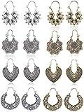 CASSIECA 8 Pares Vintage Mandala Pendientes para Mujeres Niñas Retro étnico Boho Fiesta Pendientes Grande Hueco Circulo Pendientes Bisutería