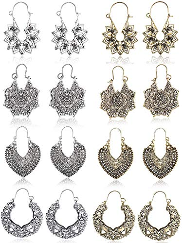 CASSIECA 8 Pares Vintage Mandala Pendientes para Mujeres Niñas Retro étnico Boho...