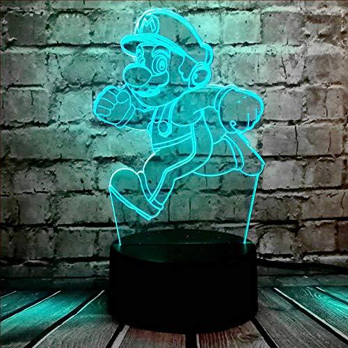 Super Mario Luz de Noche LED de dibujos animados 3D Ilusión Óptica Juego de Figura Lámpara de Mesa USB de Carga Remota Batería de Suministro de Dormir Mesita de noche RGB Lustrepara